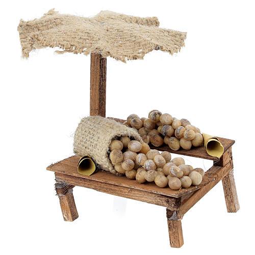 Banchetto presepe 10 cm con uova e ombrello 12x10x12 cm 2