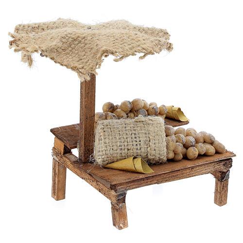 Banchetto presepe 10 cm con uova e ombrello 12x10x12 cm 3