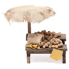 Comida em Miniatura para Presépio: Banca presépio com ovos e chapéu-de-sol 12x10x12 cm