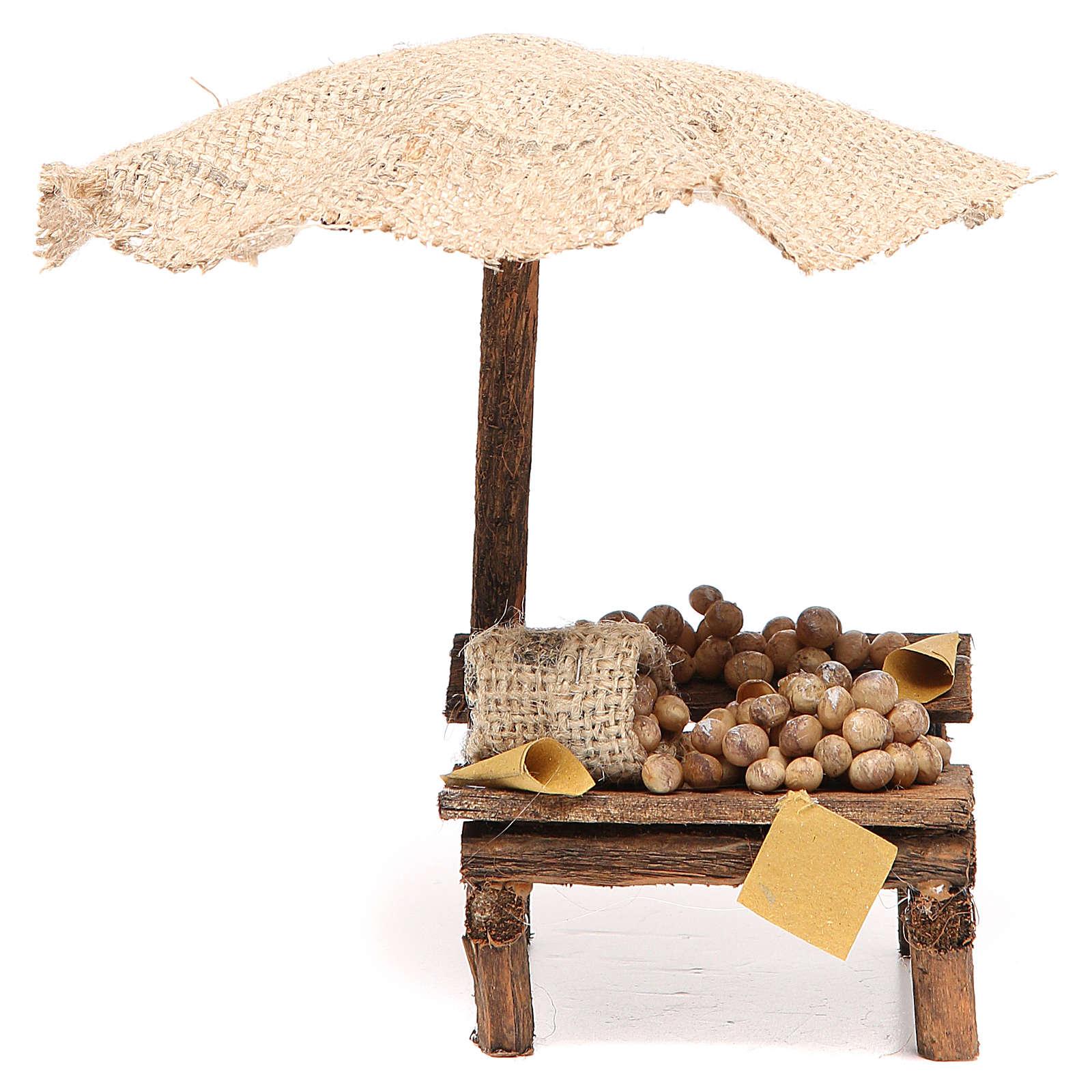 Banco presepe con uova e ombrello 16x10x12 cm 4