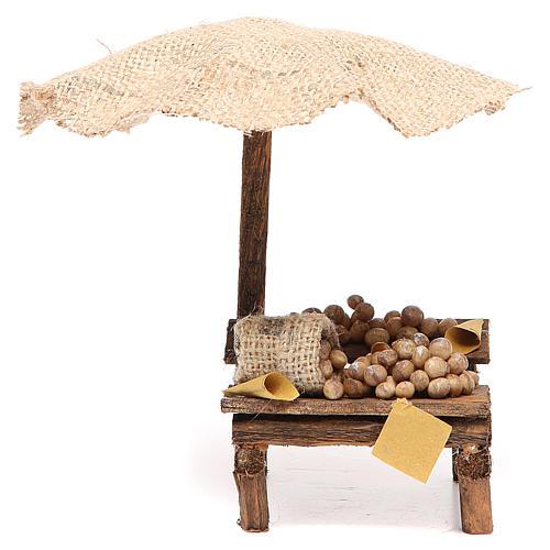 Banco presepe con uova e ombrello 16x10x12 cm 1