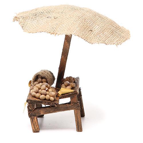 Banco presepe con uova e ombrello 16x10x12 cm 2