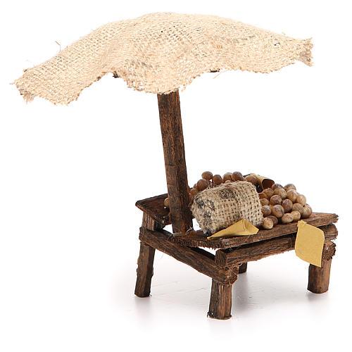 Banco presepe con uova e ombrello 16x10x12 cm 3