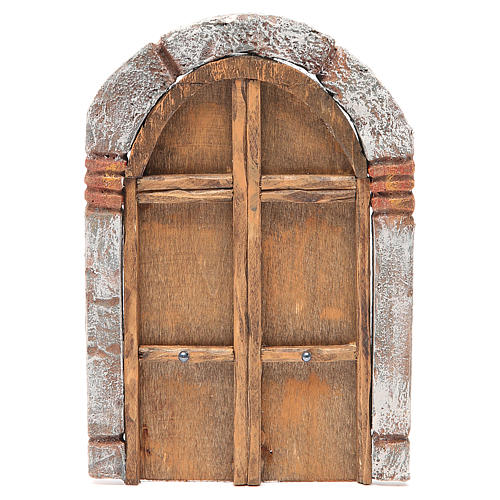Front Door arched in wood for nativity 22x14cm 1