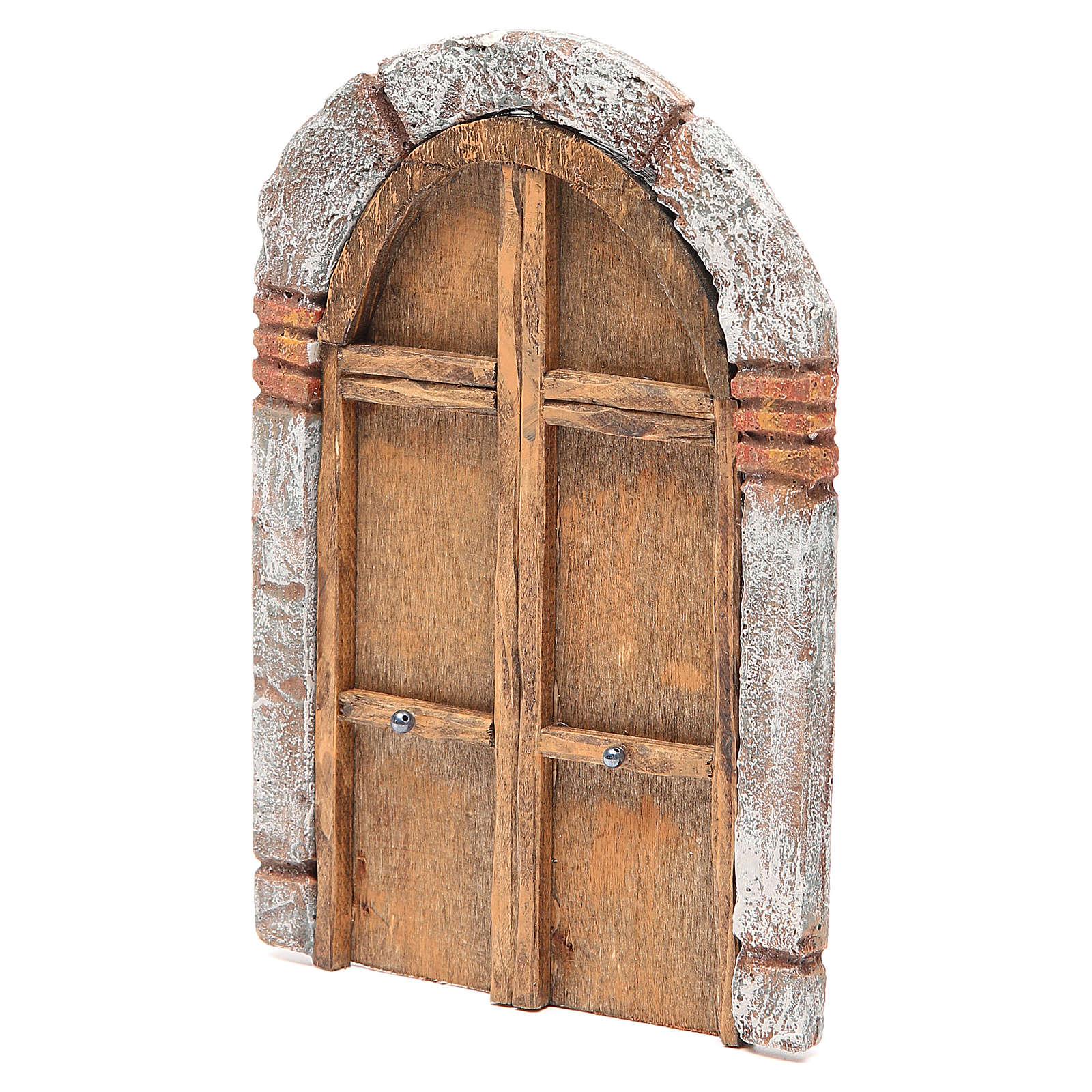 Portone ad arco in legno per presepe 22X14 cm 4
