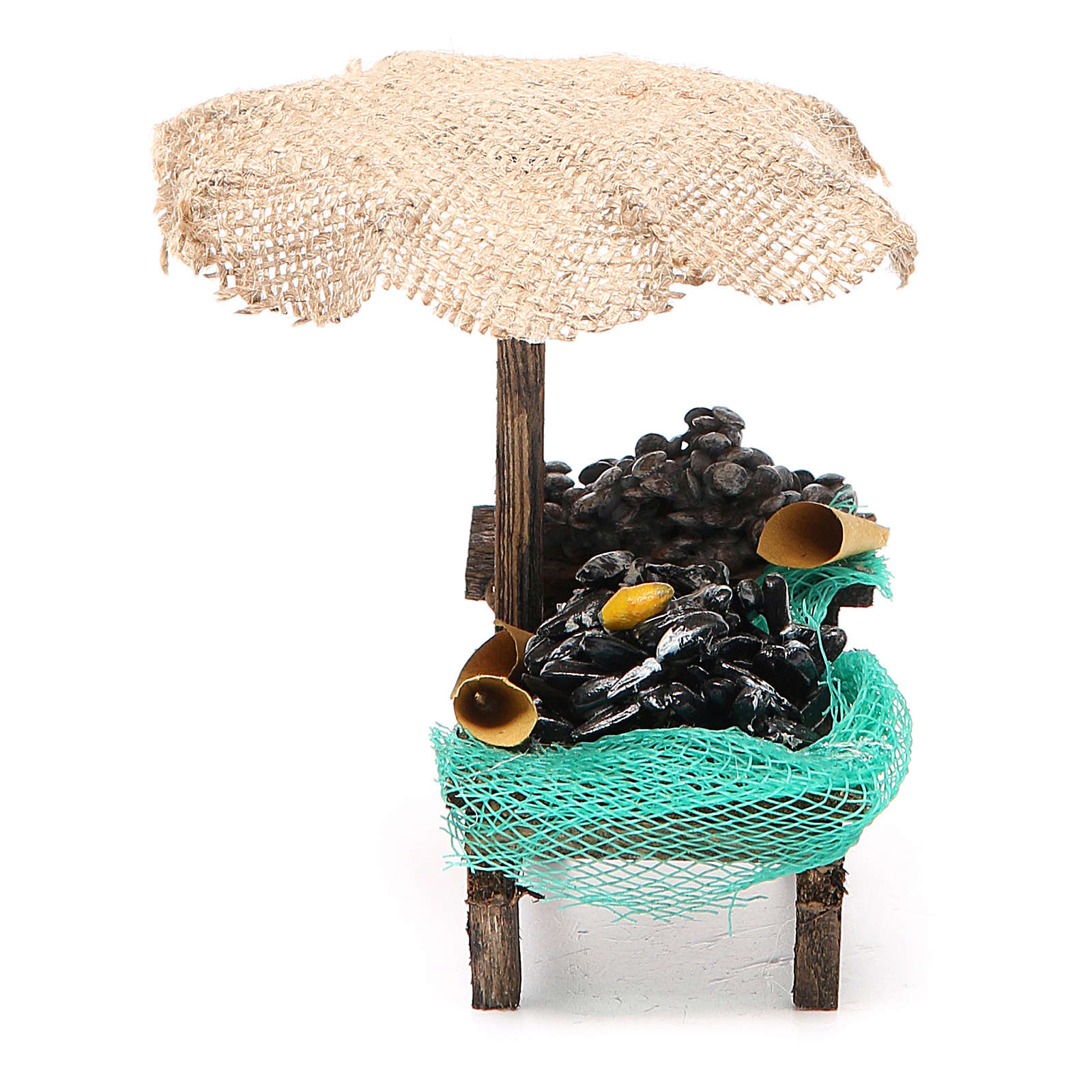 Banchetto presepe cozze vongole con ombrello 12x10x12 cm 4