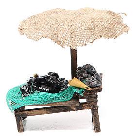 Comida em Miniatura para Presépio: Banca presépio mexilhões amêijoas com chapéu-de-sol 12x10x12 cm