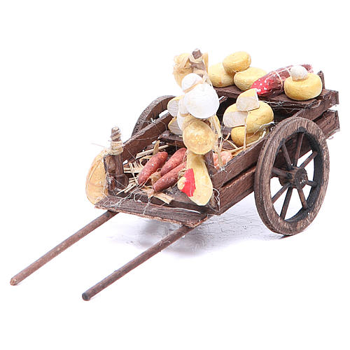 Cart with fruit for Neapolitan Nativity, measuring 9x15x6cm 1