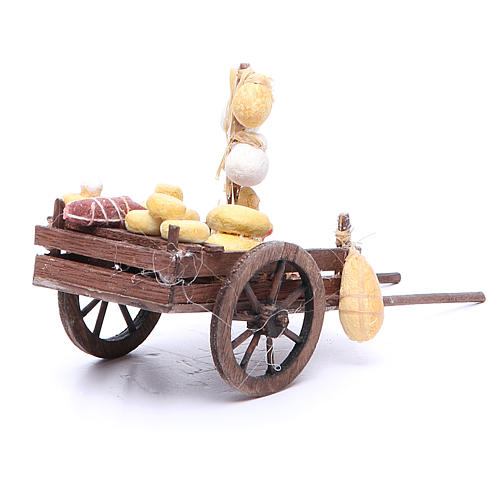 Cart with fruit for Neapolitan Nativity, measuring 9x15x6cm 3