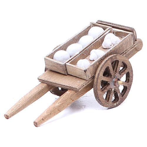 Cart of the baker for Neapolitan Nativity, measuring 5x11x5cm 1