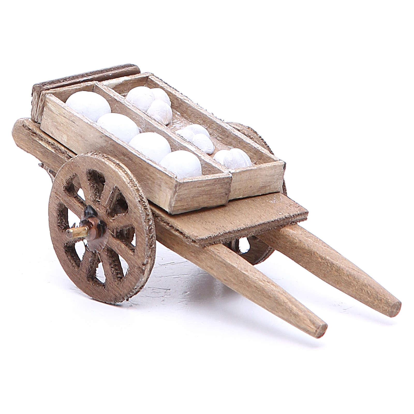 Cart of the baker for Neapolitan Nativity, measuring 5x11x5cm 4