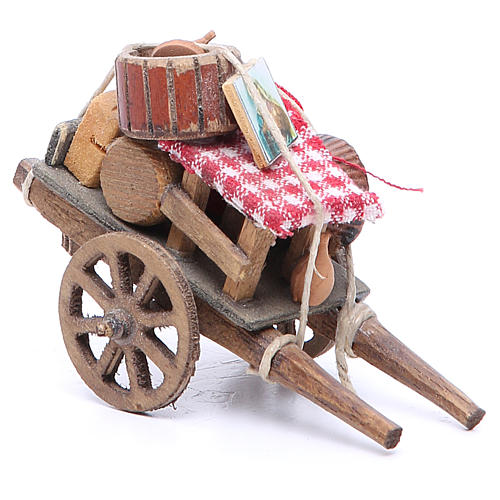 Cart of the evicted for Neapolitan Nativity, measuring 9x12x7cm 2