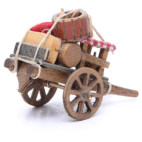 Cart of the evicted for Neapolitan Nativity, measuring 9x12x7cm 3