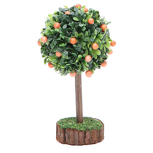 Orange tree for nativity scene in wood and resin 2
