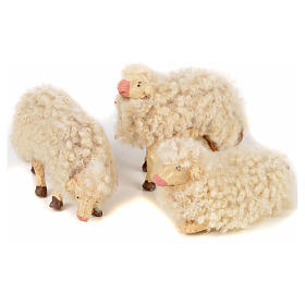Neapolitan Nativity Scene: Neapolitan Nativity scene figurine, kit, 3 sheep with wool 12 cm