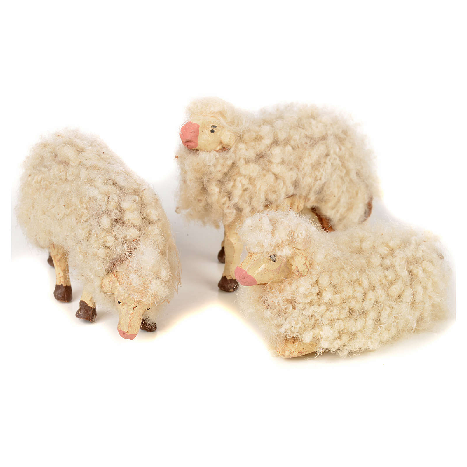 Kit de 3 ovejas con lana 12 cm. belén napolitano 4