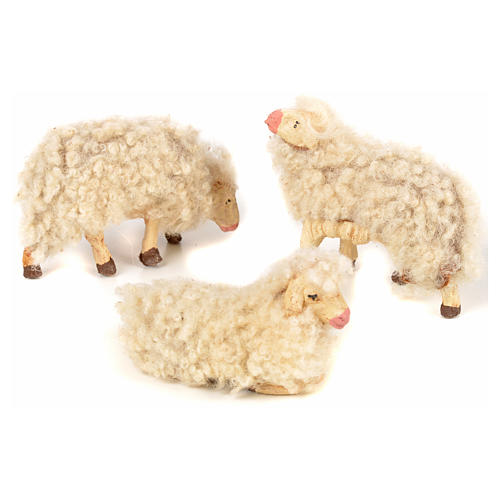Kit de 3 ovejas con lana 12 cm. belén napolitano 2
