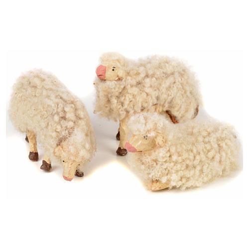 Kit 3 pecore con lana 12 cm presepe napoletano 1