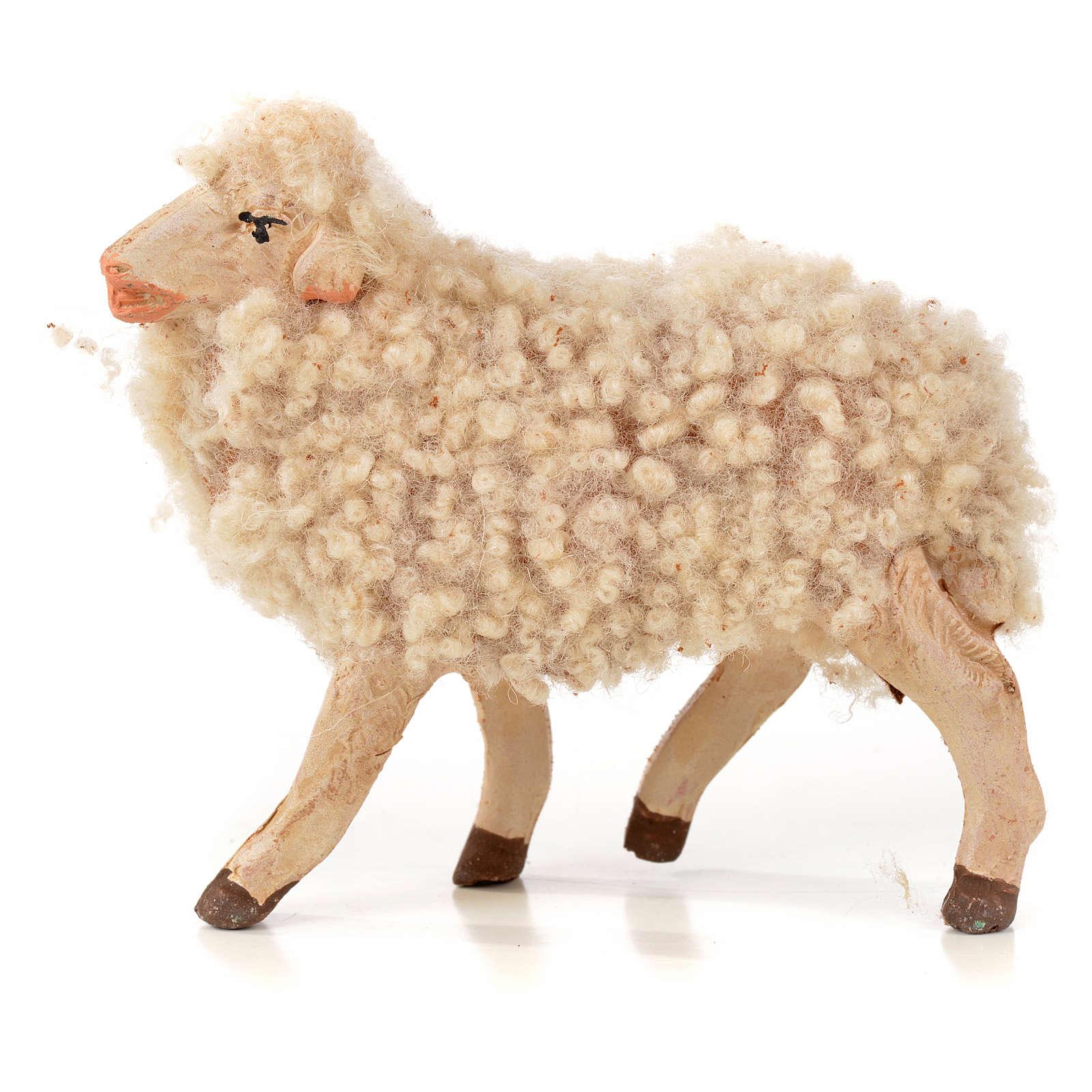 Neapolitan Nativity scene figurine, kit, 3 sheep with wool 14 cm 4