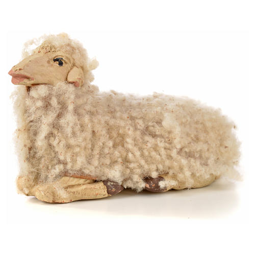Neapolitan Nativity scene figurine, kit, 3 sheep with wool 14 cm 4