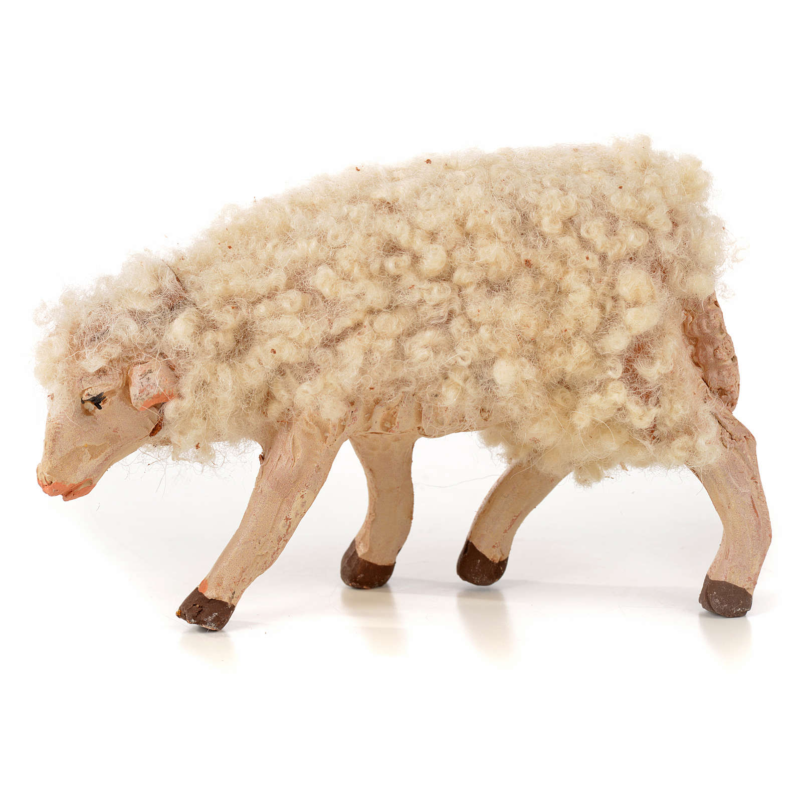 Kit 3 pecore con lana 14 cm presepe napoletano 4