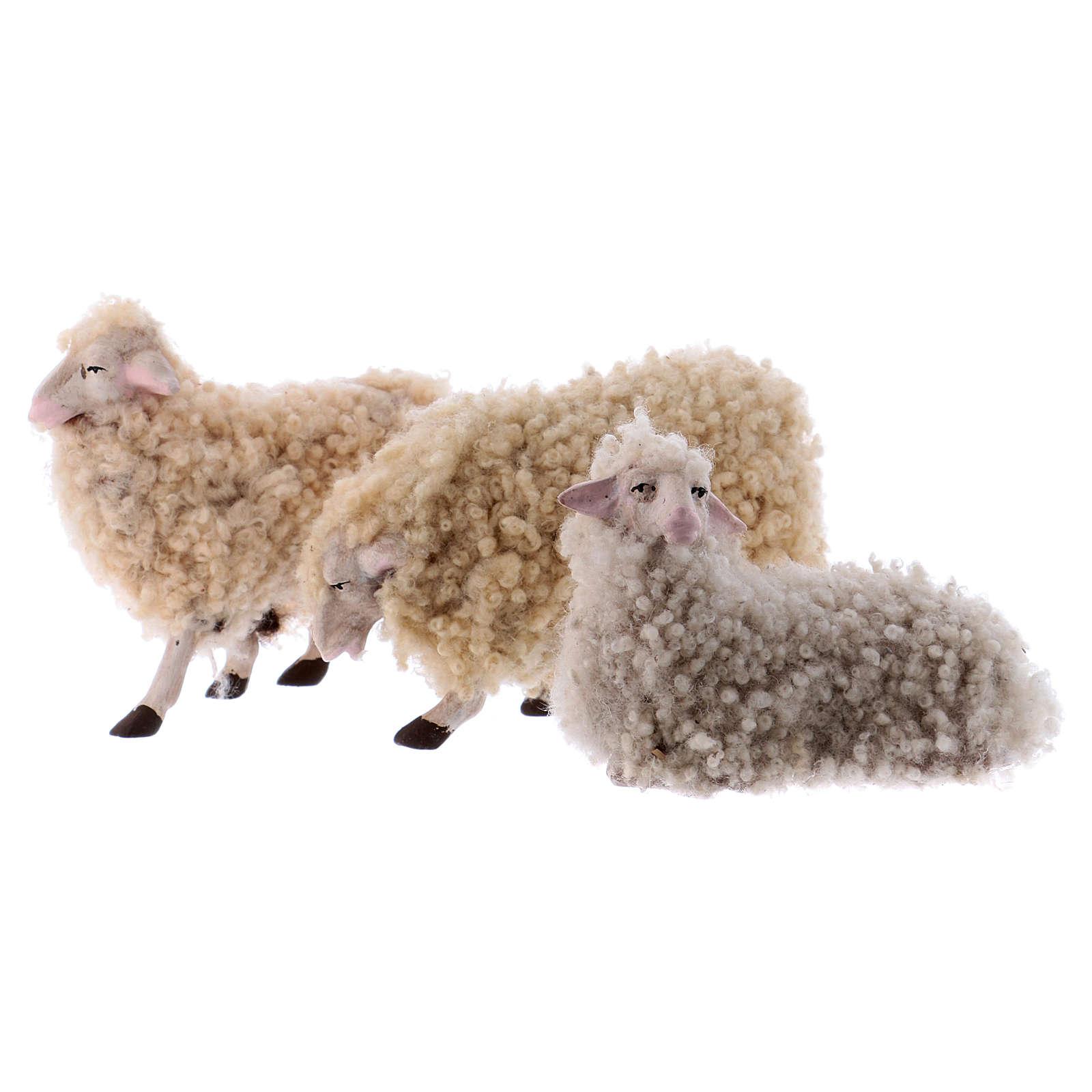 Kit 3 ovejas con lana 18 cm. belén Napolitano 4