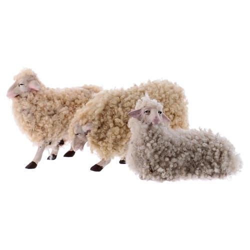 Kit 3 pecore con lana 18 cm presepe napoletano 1