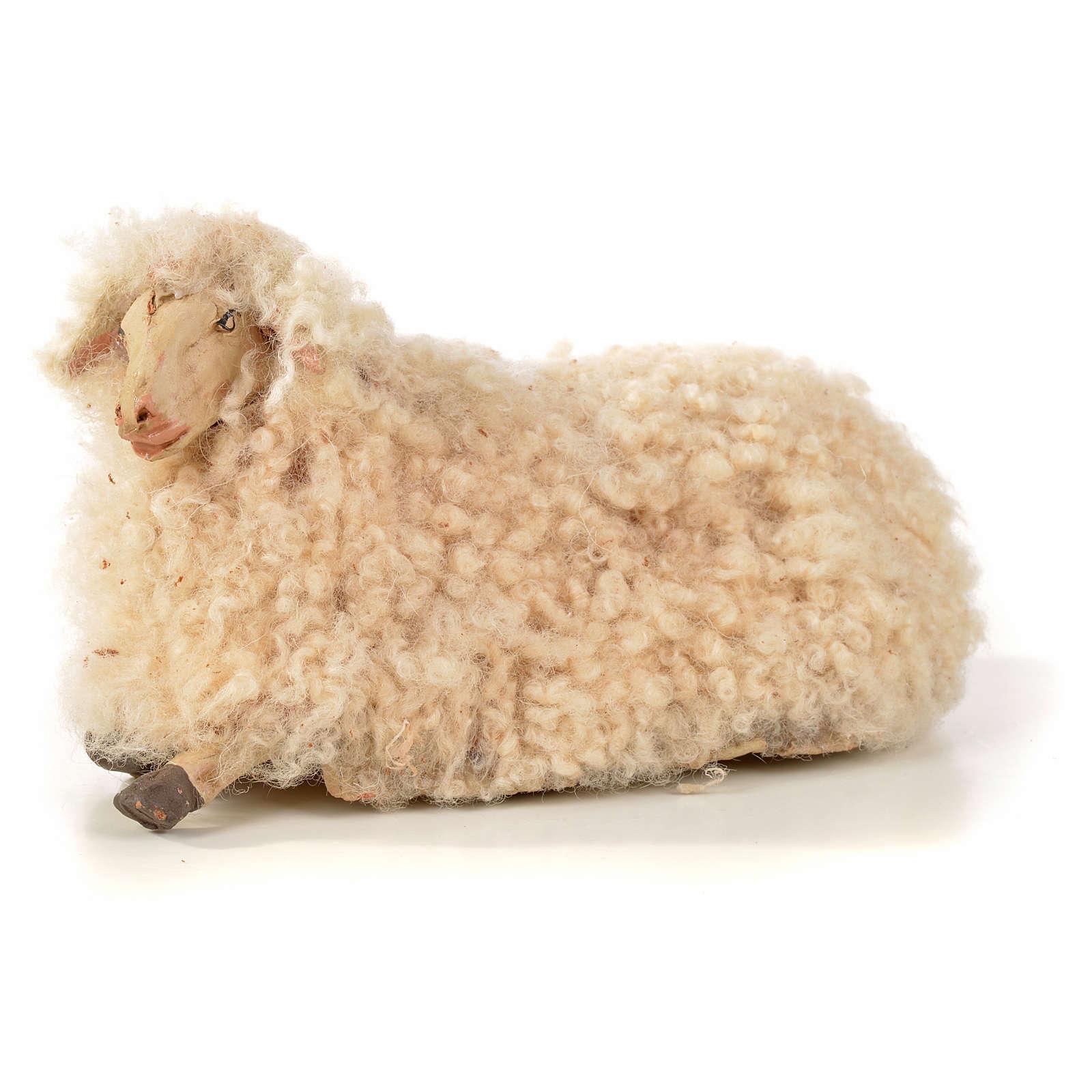 Neapolitan Nativity scene figurine, kit, 3 sheep with wool 18 cm 4