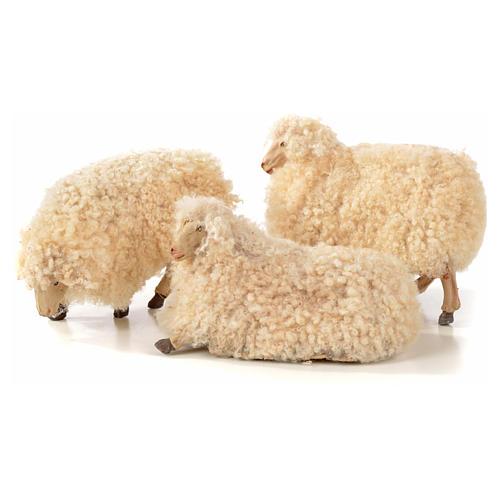 Neapolitan Nativity scene figurine, kit, 3 sheep with wool 18 cm 1