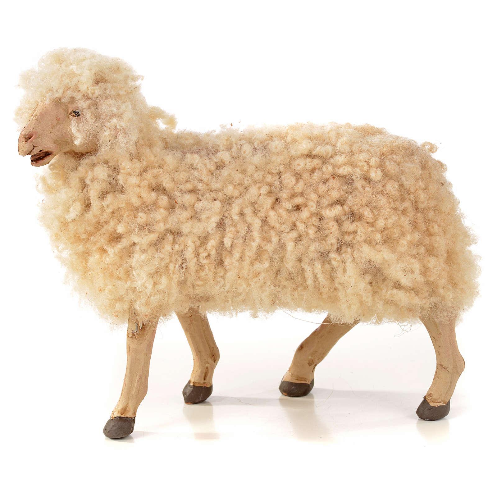 Kit 3 ovejas con lana para belén Napolitano con figuras de altura media 22 cm 4