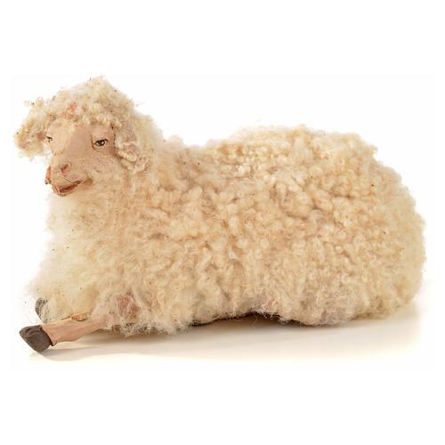 Kit 3 pecore con lana per presepe napoletano con pastori di 22 cm 4