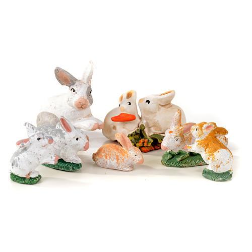 Neapolitan Nativity scene figurine, kit with rabbits, 7 pieces 8 1