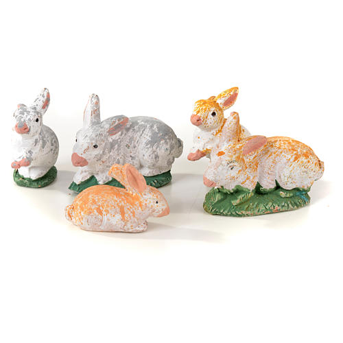 Neapolitan Nativity scene figurine, kit with rabbits, 7 pieces 8 3