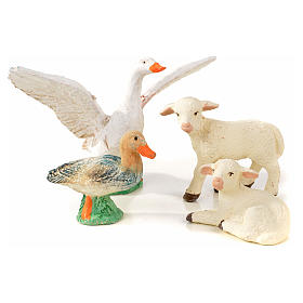 Neapolitan Nativity scene figurine, duck, goose and 2 lambs 10cm s1