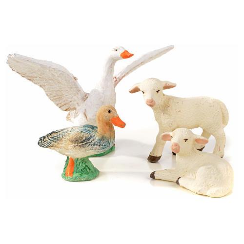 Neapolitan Nativity scene figurine, duck, goose and 2 lambs 10cm 1