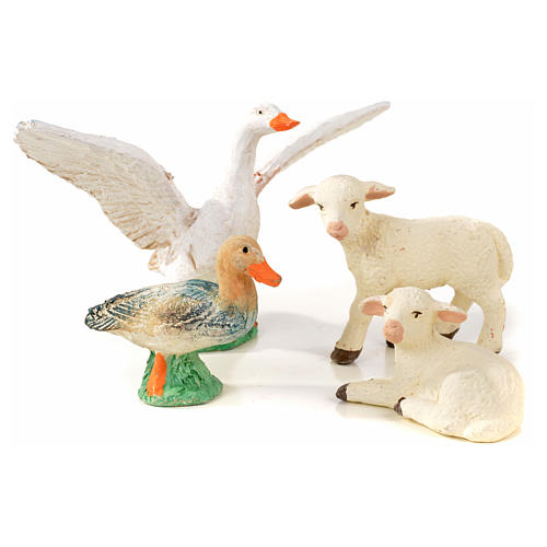Neapolitan Nativity scene figurine, duck, goose and 2 lambs 10cm 1