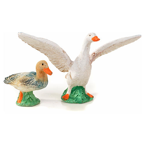 Neapolitan Nativity scene figurine, duck, goose and 2 lambs 10cm 2