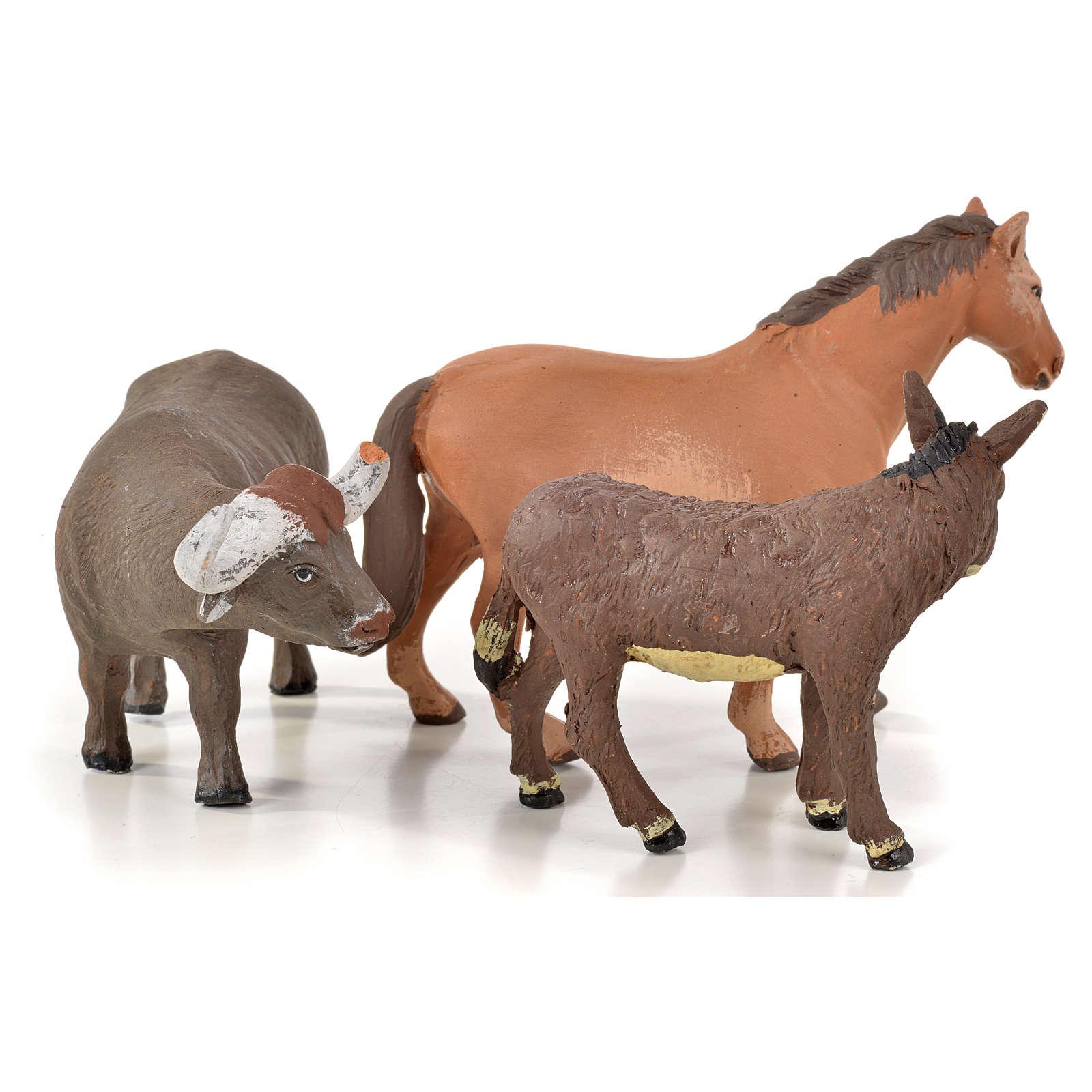 Neapolitan Nativity scene figurine, horse, donkey and buffalo 10 4