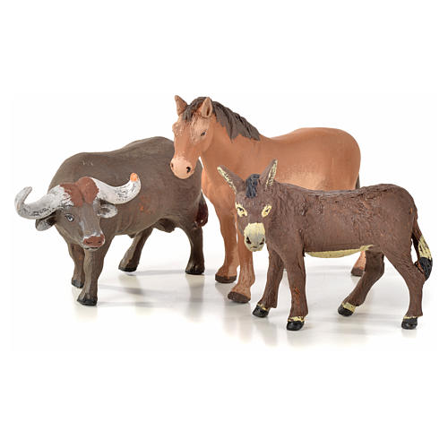 Neapolitan Nativity scene figurine, horse, donkey and buffalo 10 1