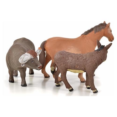 Neapolitan Nativity scene figurine, horse, donkey and buffalo 10 2