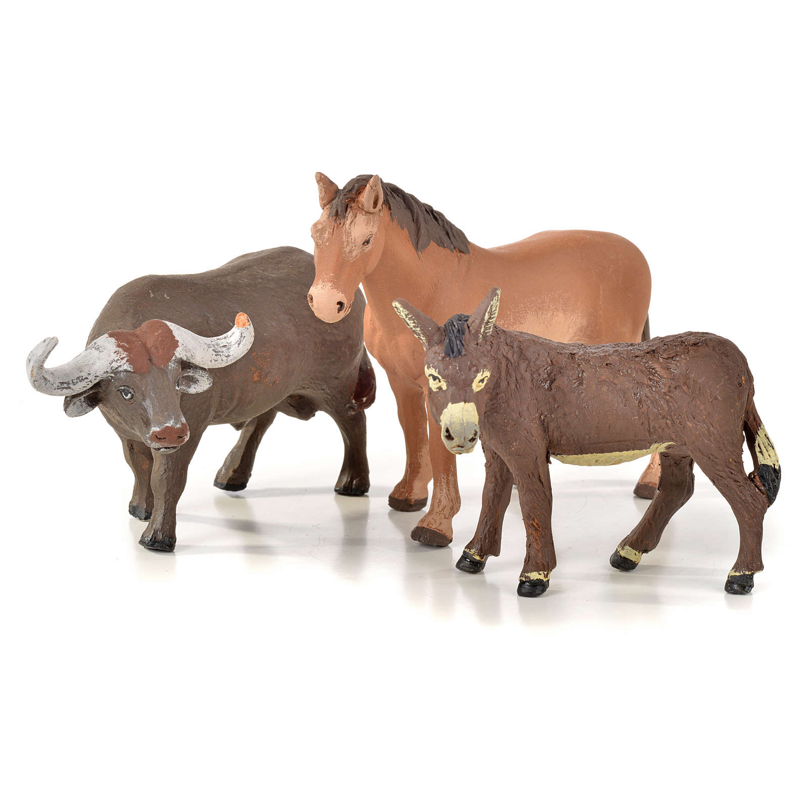 Neapolitan Nativity scene figurine, horse, donkey and buffalo 10 4