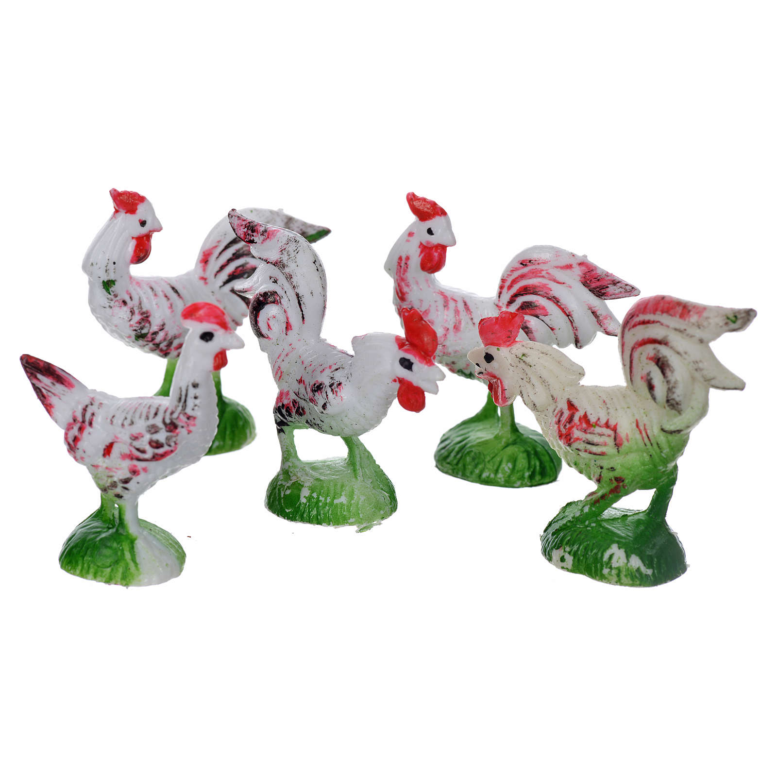 Nativity figurine, cocks and hens 5 pcs 3