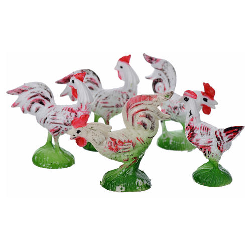 Nativity figurine, cocks and hens 5 pcs 2