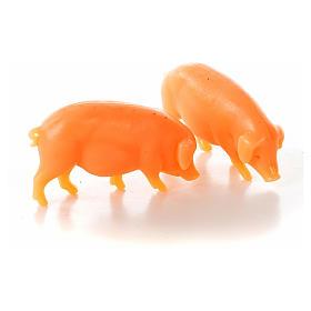 Nativity figurine, pig in resin 6-8-10 cm (2 pcs) s1
