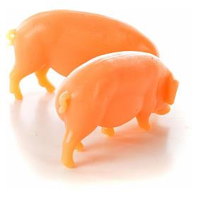 Nativity figurine, pig in resin 6-8-10 cm (2 pcs) s2