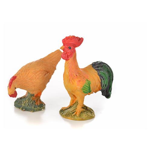 Coq et poule résine 15 cm pour crèche 1