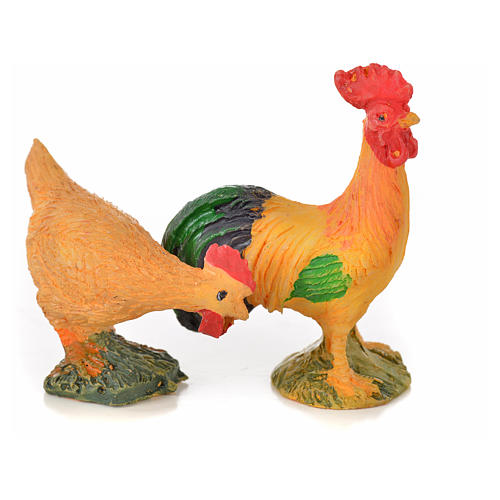 Coq et poule résine 15 cm pour crèche 2