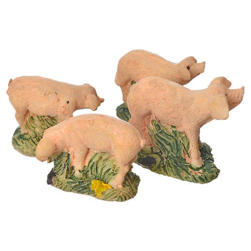 Porcos em resina conjunto 4 peças 10 cm 2