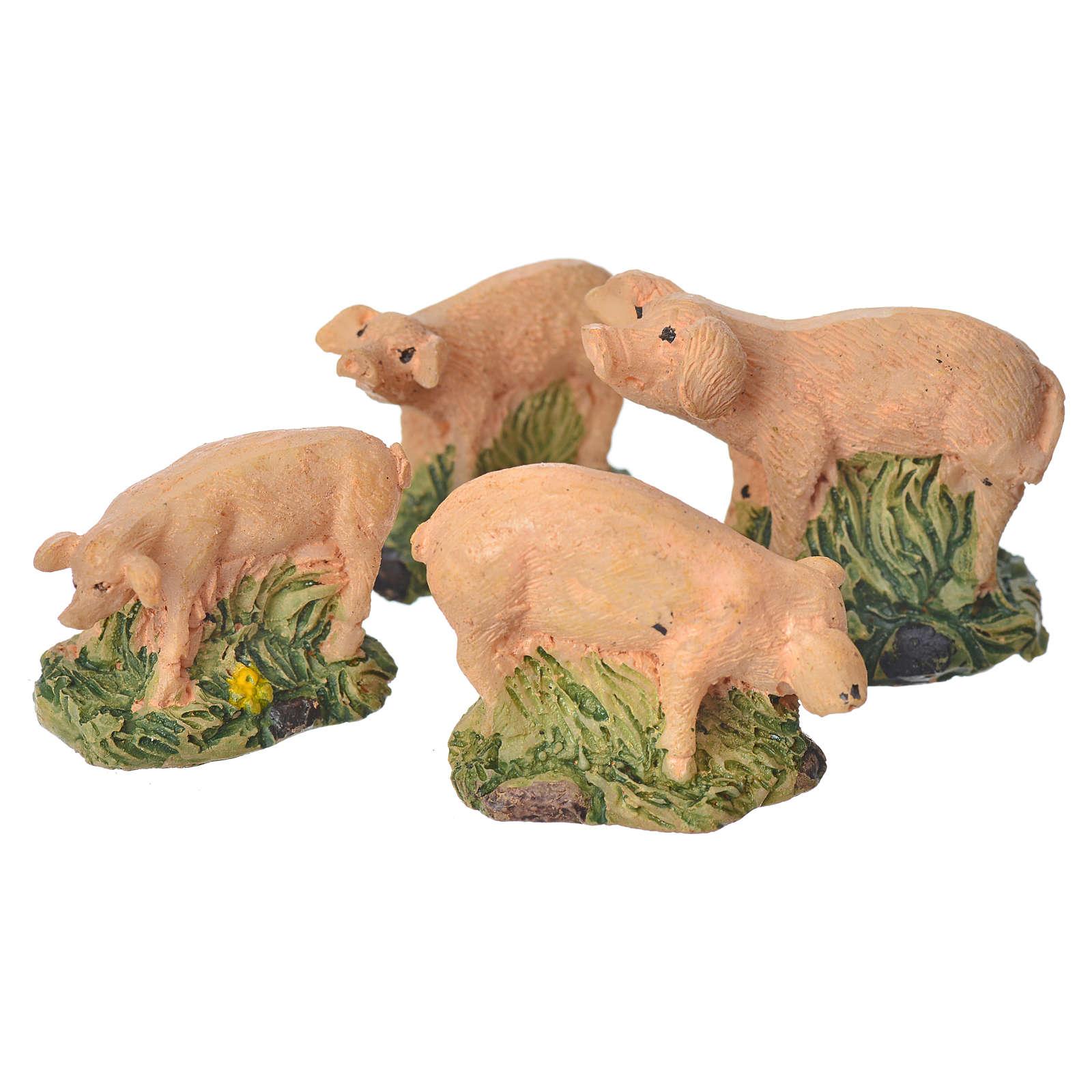 Nativity figurine, resin pigs, 4 pieces 10cm 3