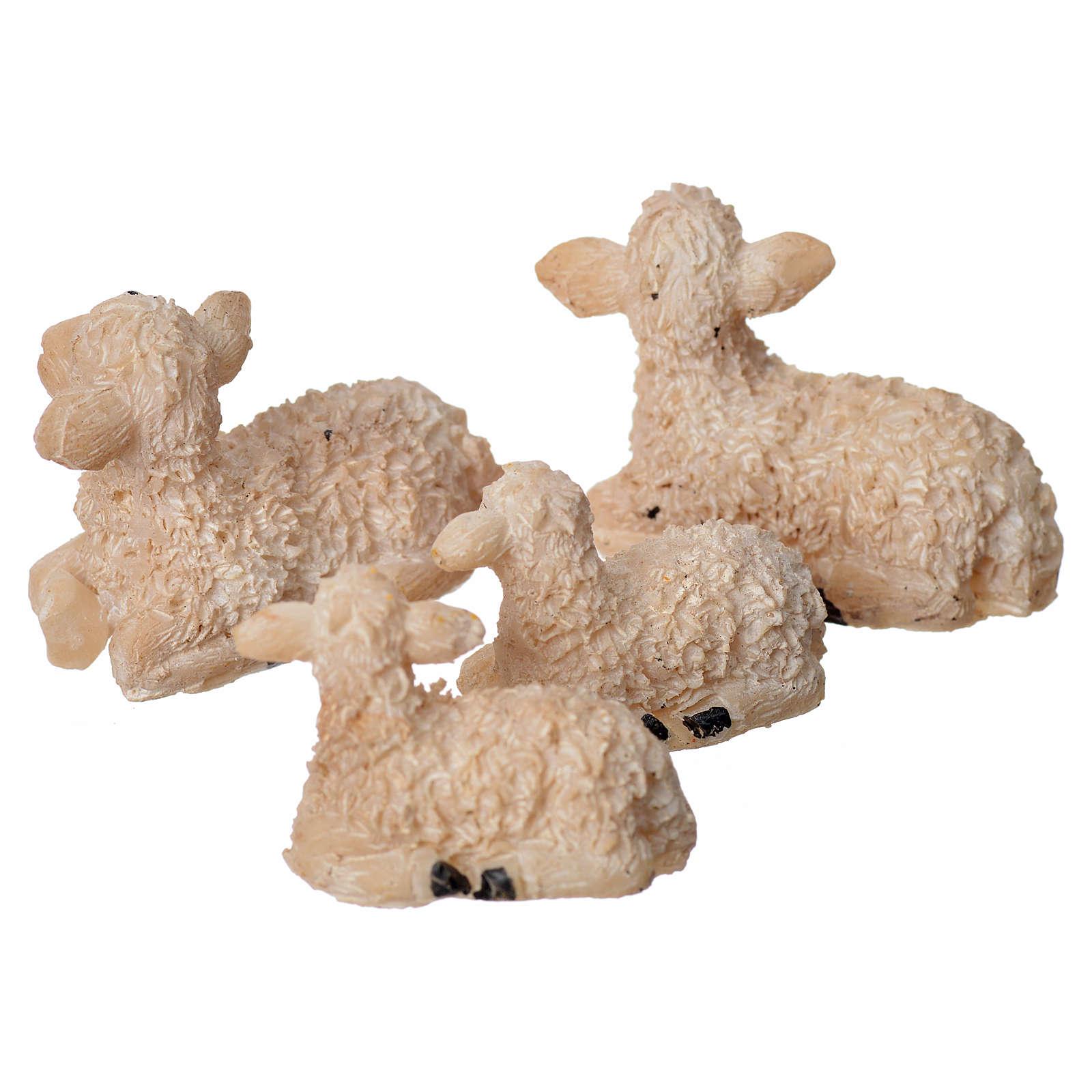 Nativity figurine, resin sheep, 4 pieces 8cm 3